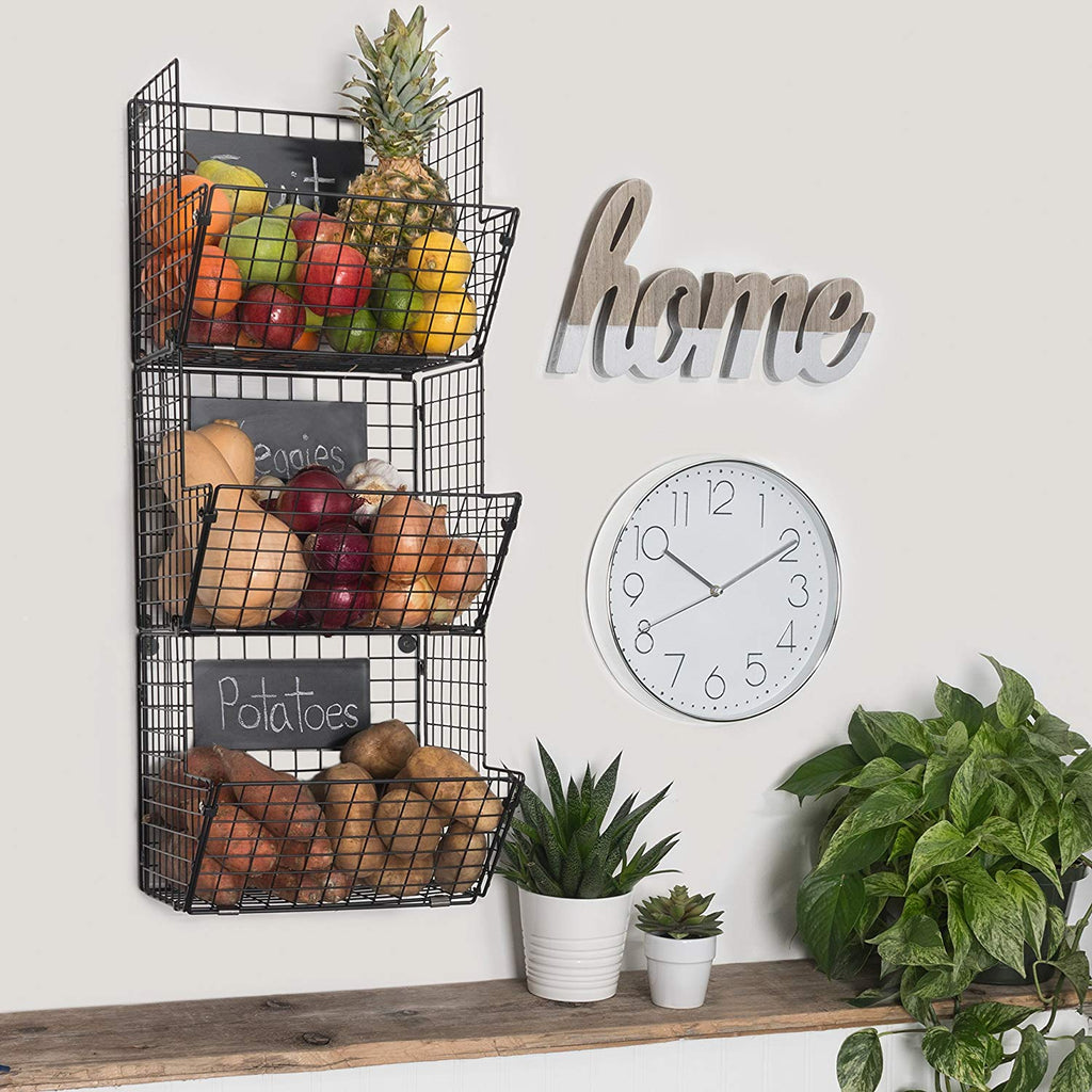 Saratoga Home Premium 3-Tier Wall Mounted Hanging Wire Baskets with Chalkboards High-Grade Black Iron - Fruit or Produce Storage - Pantry Organization - Rustic Country-Style - beyondtrendi