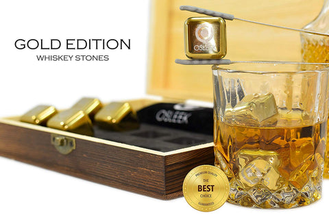 Whiskey Stones - Set of 8 Titanium Gold Plated Stainless Steel Chilling Rocks Stored In A Premium Handmade Quality Wood Gift Box - Velvet Freezing Bag And Tong Included - beyondtrendi