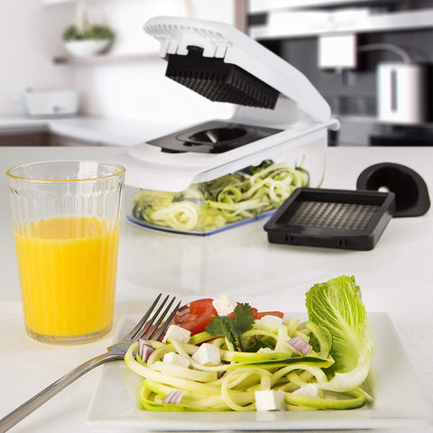 Fullstar Vegetable Chopper - Spiralizer Vegetable Slicer - Onion Chopper with Container - Pro Food Chopper - Slicer Dicer Cutter - 4 Blades - beyondtrendi