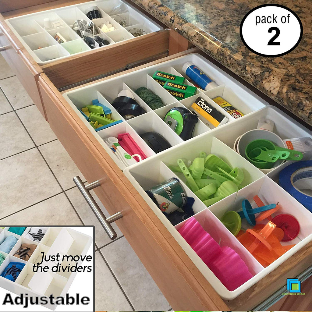 Uncluttered Designs Adjustable Drawer Dividers for Utility & Junk Drawer Kitchen and Office Storage & Organization (2 Pack) - beyondtrendi