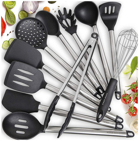 11 Silicone Cooking Utensils Kitchen Utensil set - Stainless Steel Silicone Kitchen Utensils Set - Silicone Utensil Set Spatula Set - Silicone Utensils Cooking Utensil Set - Kitchen Tools and Gadgets - beyondtrendi