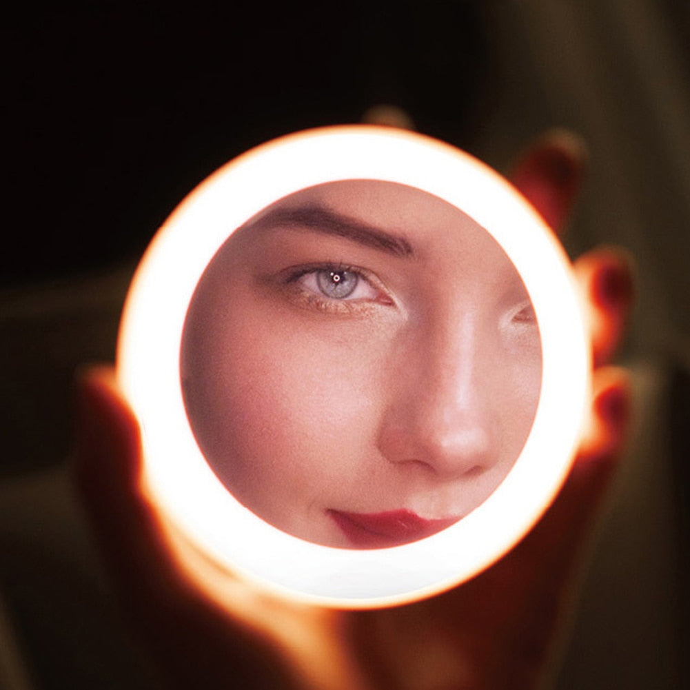 HD Makeup Mirror with 12 LEDs Lights Cosmetic Mirror Mini Portable Round Travel Mirror For Women Beauty Makeup Tool - beyondtrendi