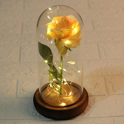 Eternal Rose with Fairy Light Rose In Glass Dome - beyondtrendi