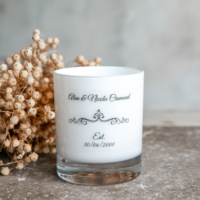 Personalised Wedding / Anniversary Candle - Roses