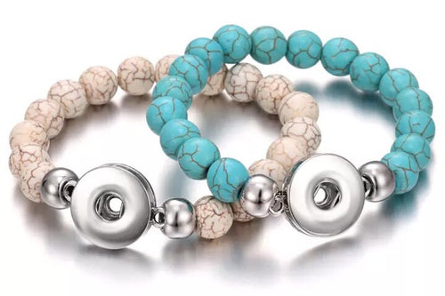 Natural Bead Snap Jewelry Bracelets comes in teal or natural color stone. Comes with a free snap of your choice.