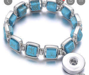 Stretchy Turquoise Crackle Snap Jewelry Bracelet. Comes with a free snap of your choice.