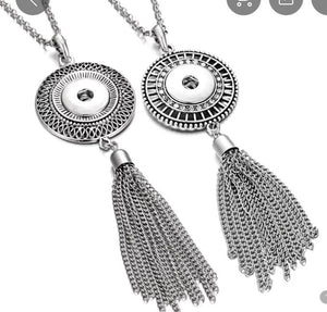 Round Medallion Tassel Snap Jewelry Necklace. Comes with a free snap of your choice.