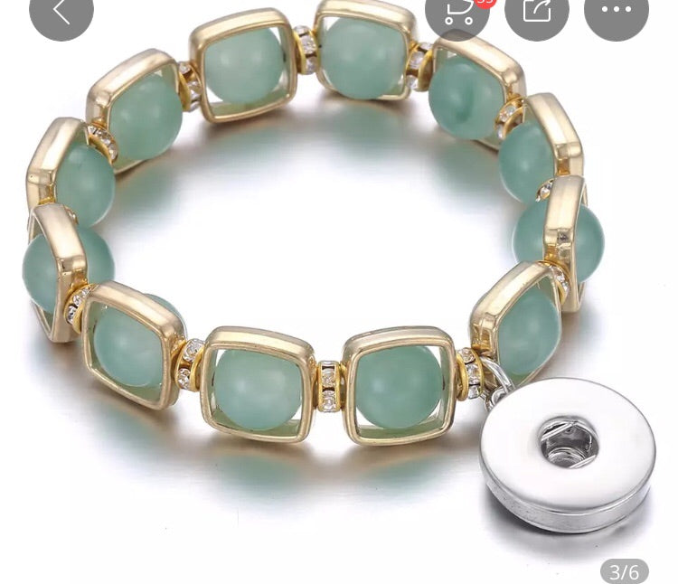 Stretchy Light Green Bead Snap Jewelry Bracelet. Comes with a free snap of your choice.