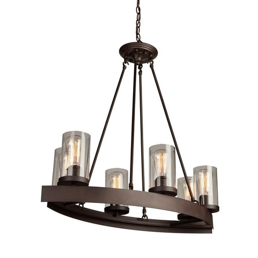 Artcraft Melno Park 6 Light Chandelier, Dark Chocolate