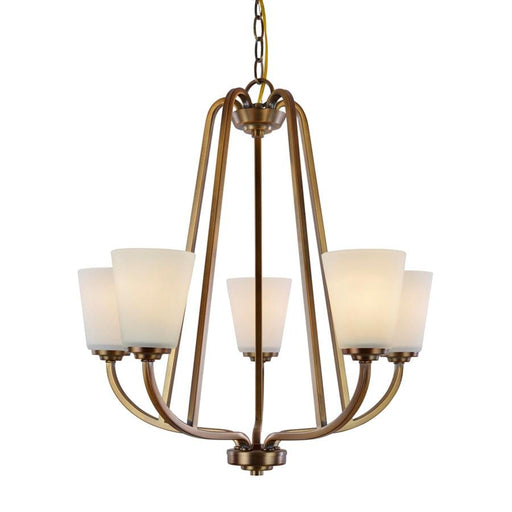 Artcraft Hudson 5 Light Chandelier, Vintage Brass