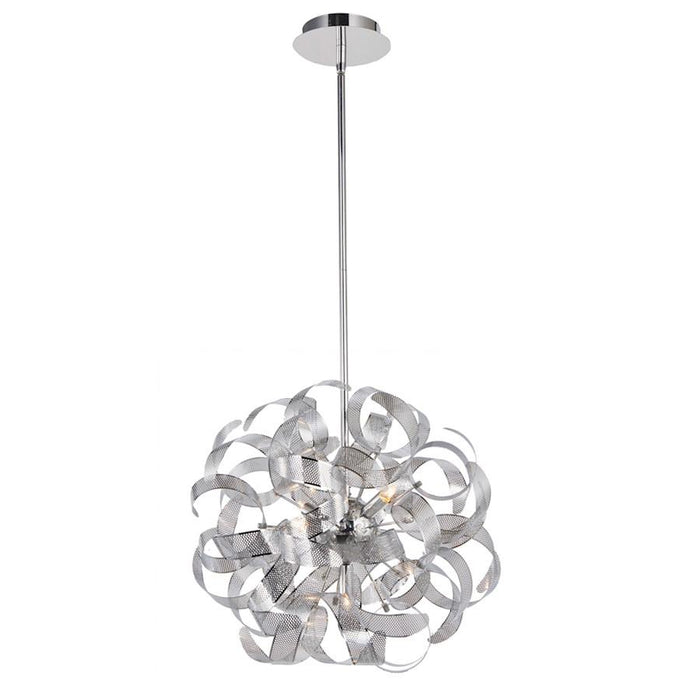 Artcraft Bel Air 5 Light Chandelier, Chrome Mesh Leaves