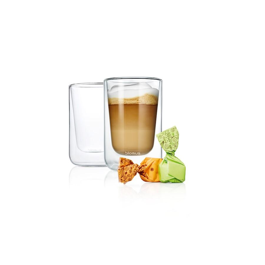 Blomus Nero Set 2 Insulated Cappuccino / Tea Glasses, Glass - 63654