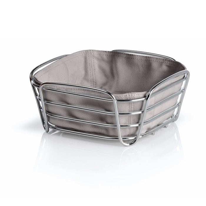 Blomus Delara Bread Basket, Sm Taupe, Chrome Plated Steel Wire, Cotton
