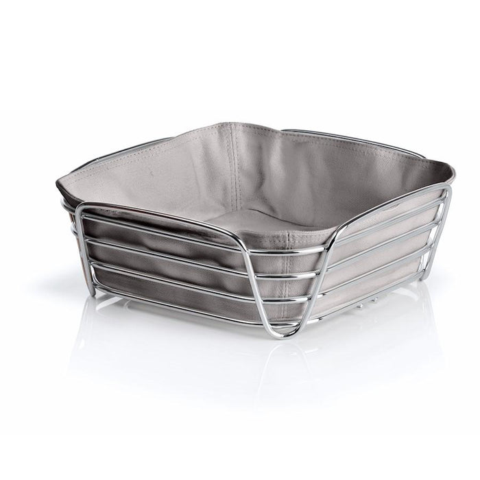 Blomus Delara Bread Basket, Lg Taupe, Chrome Plated Steel Wire, Cotton - 63668