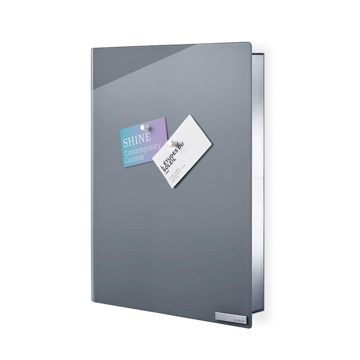 "Blomus Grey Glass Magnet Board w/Hook Organizer Velio 15.76x11.82x1.97"" - 65368"