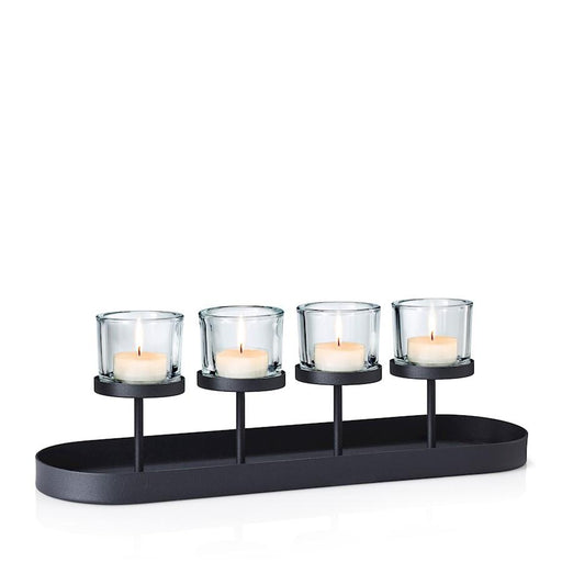 Blomus Nero Tealight Holder with Oval Tray Base