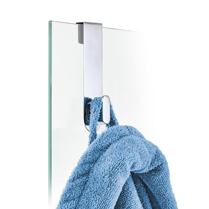 Blomus Areo Glass Shower Overdoor Hook, Polish, Stainless Steel, Plastic - 68915