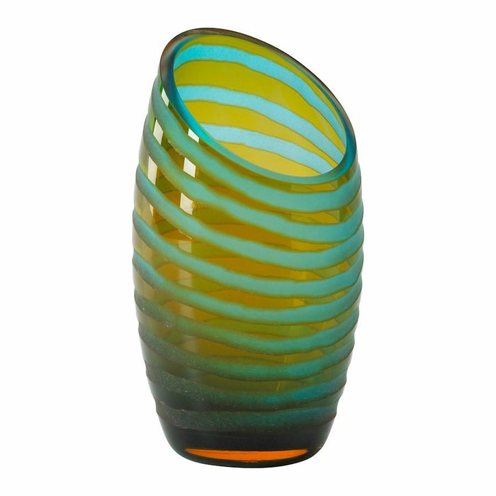 Cyan Design Angle Cut Chiseled Vase, Cyan Blue and Orange