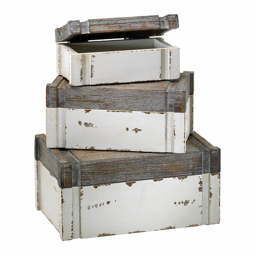 Cyan Design Alder Boxes set of 3, Distressed White and Gray