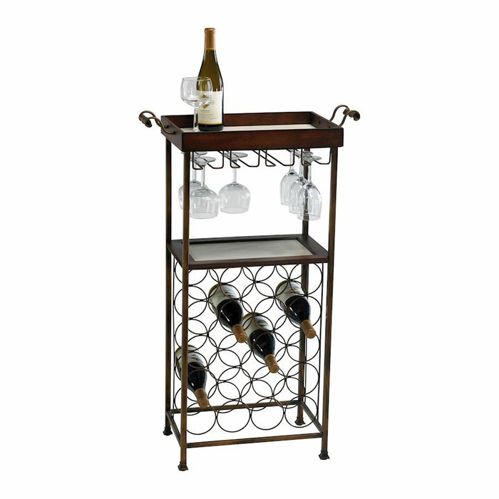 Cyan Design New York Wine Stand, Mahogany and Copper