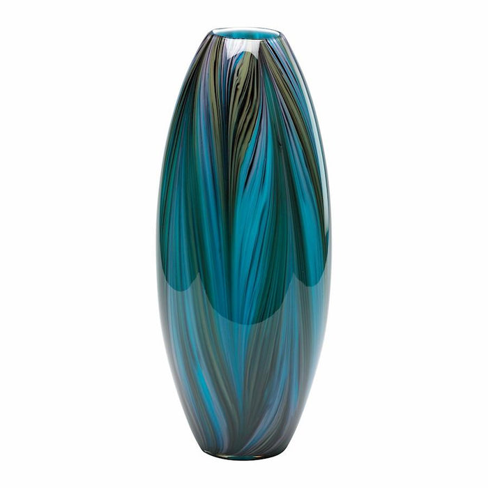 Cyan Design Peacock Feather Vase, Multi Colored Blue