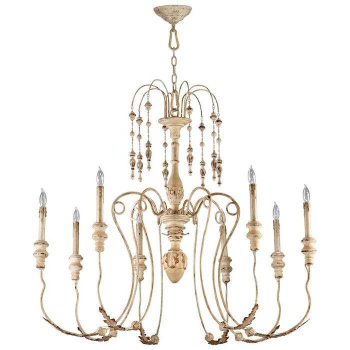 Cyan Design Maison Eight Light Chandelier, Persian White