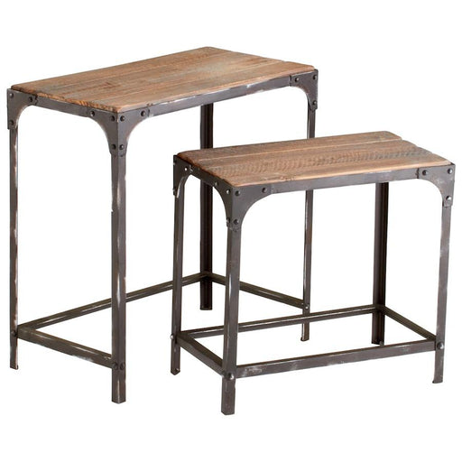 Cyan Design Winslow Nesting Tables, Raw Iron and Natural Wood