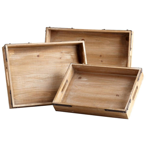 Cyan Design Staton Trays, Washed Oak