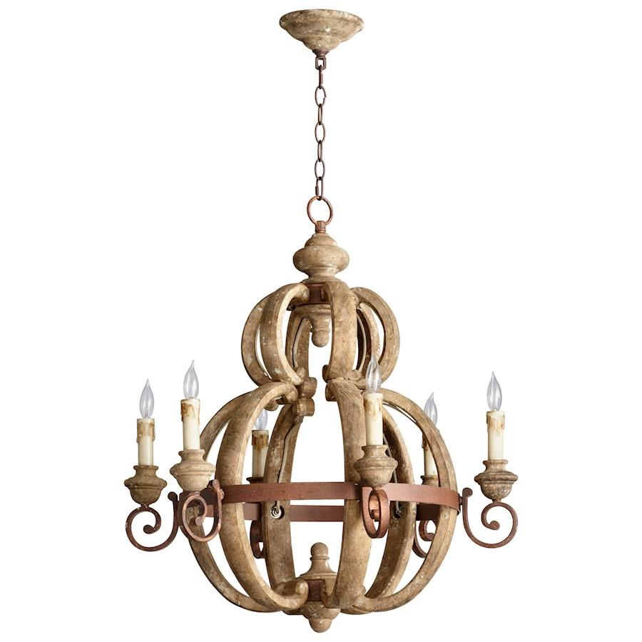 Cyan Design Atocha Six Light Chandelier, Sutherland Buff and Rust Finish