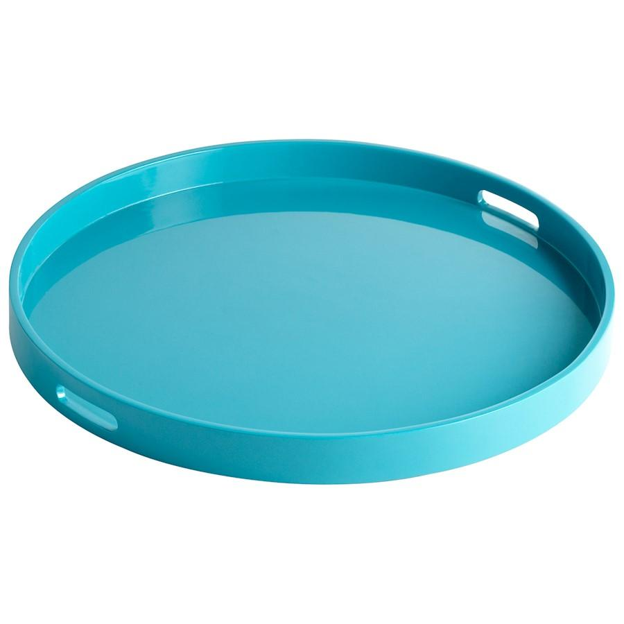 Cyan Design Large Estelle Tray, Teal Lacquer