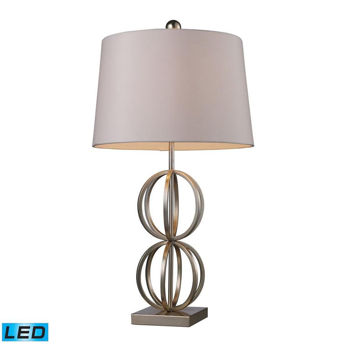 Dimond Donora Table Lamp, Silver Leaf with Milano Off-White Shade