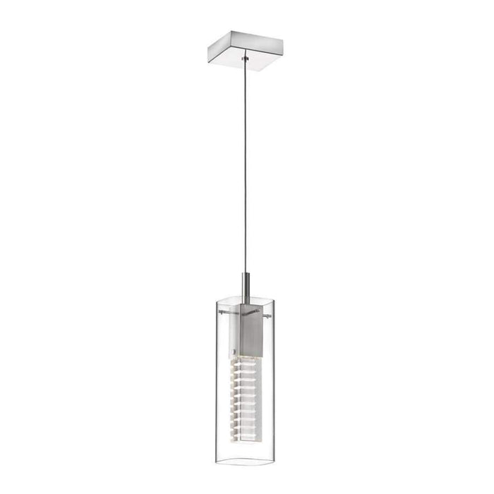 Dainolite 1 Light Laser Cut Crystal Pentalogue Pendant, Satin Chrome