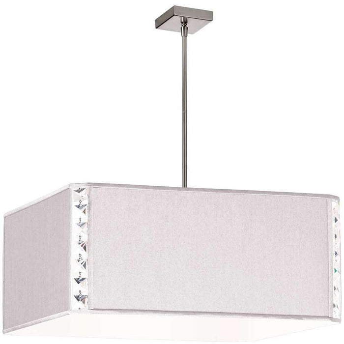 Dainolite 3 Light Square Elise Pendant, Polished Chrome