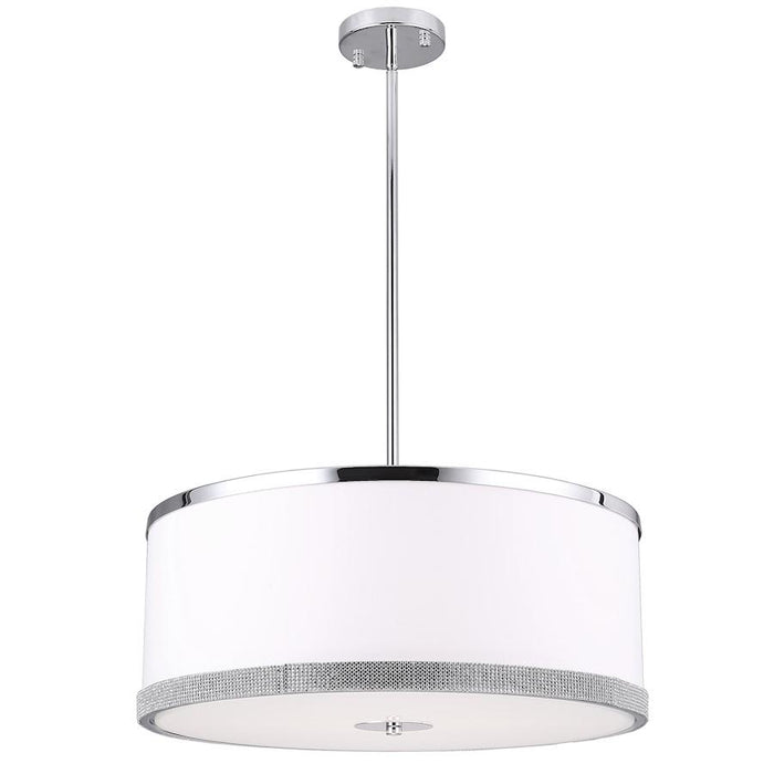 Dainolite Devonshire 4 Light Pendant, White/Polished Chrome