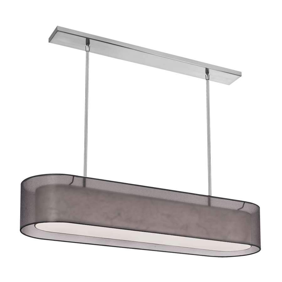 Dainolite 4 Light Oval Pendant, Satin Chrome/Black Organza