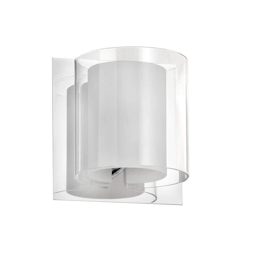Dainolite 1 Light Sconce, Polished Chrome, Frosted White Glass