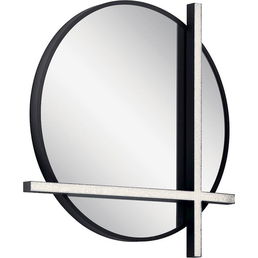 Elan Kemena Lighted Mirror, Matte Black/Cubic Zirconia