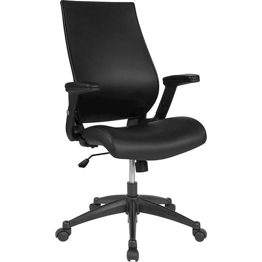 Flash Furniture Hi-Back Black Leather Office Chair, Adj Arms