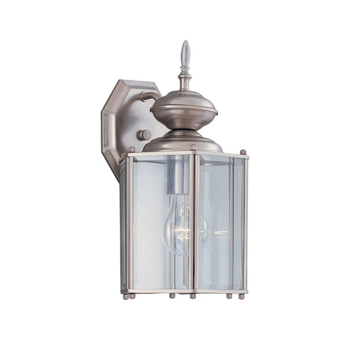 "Designers Fountain Beveled Glass 7"" Wall Lantern, Pewter"