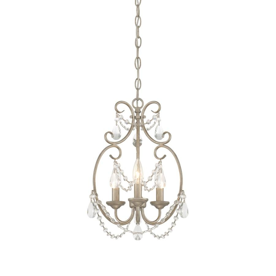 Designers Fountain Dahlia 3 Light Mini Chandelier, Aged Platinum