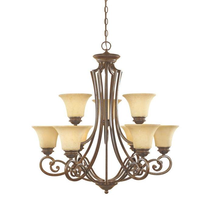 Designers Fountain Mendocino Chandelier, Forged Sienna