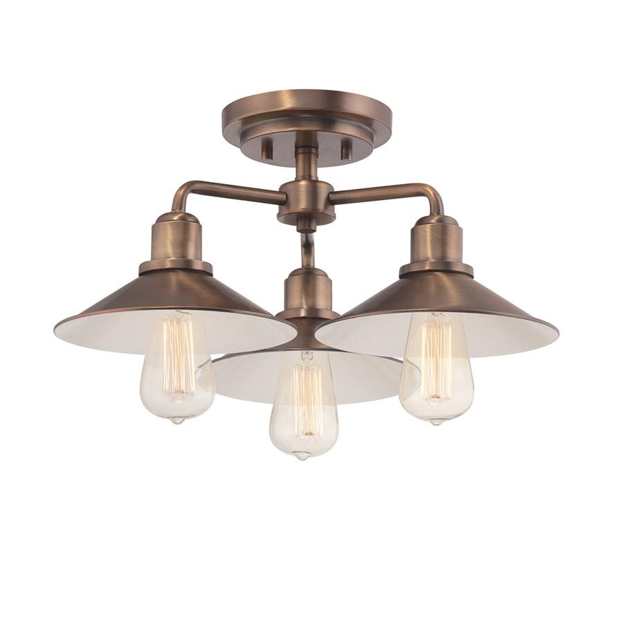 Designers Fountain Newbury Station Semi Flush, Old Satin Brass