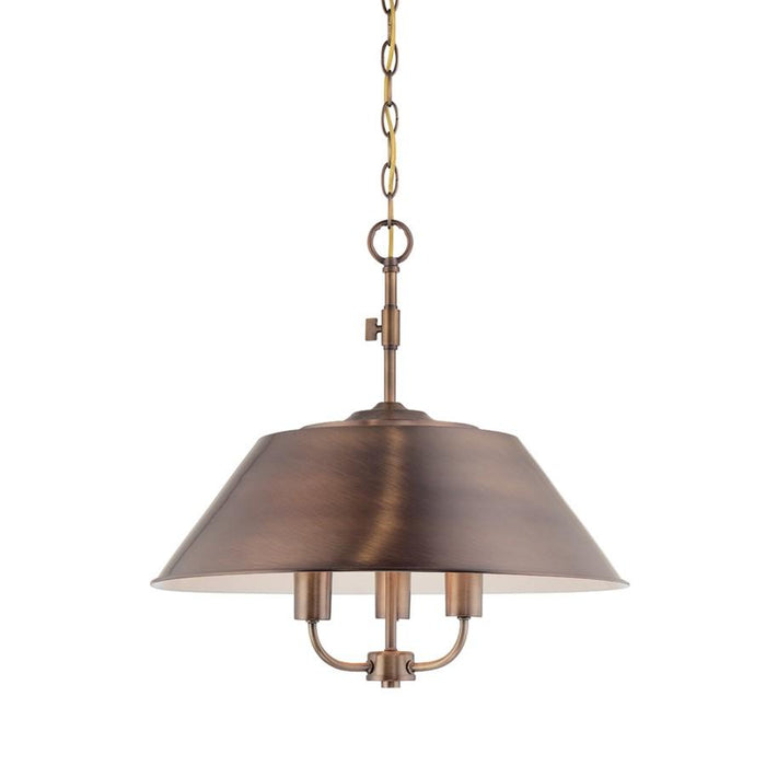 Designers Fountain Newbury Station Inverted Pendant, Old Satin Brass
