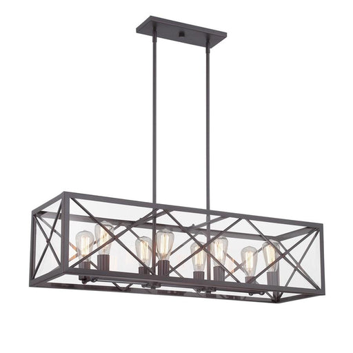 Designers Fountain High Line 8 Light Linear Chandelier, Satin Bronze