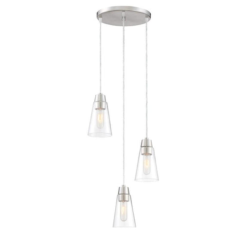 Designers Fountain Echo 3 Light Mini Pendant, Satin Platinum