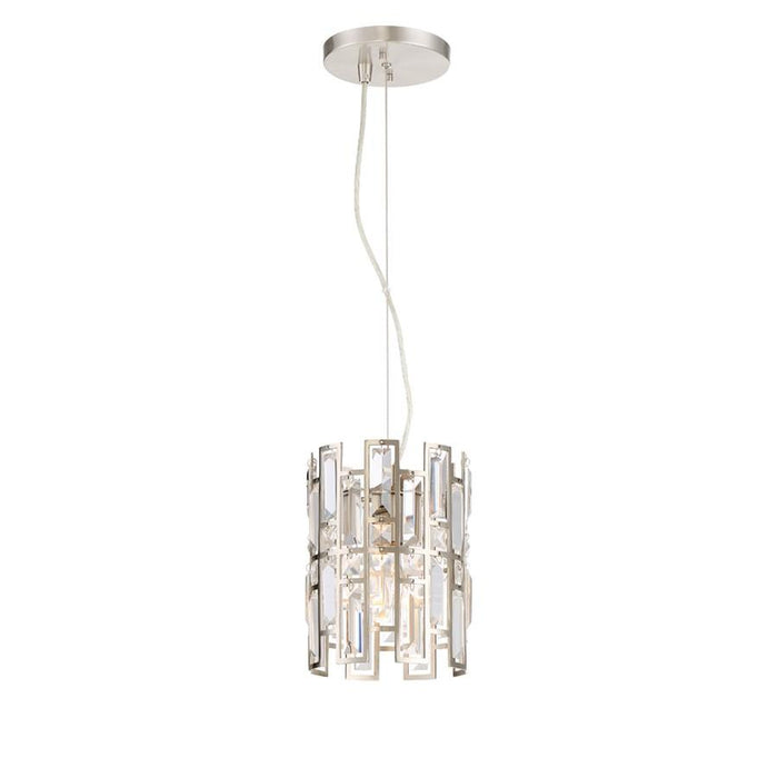 Designers Fountain West 65th 1 Light Mini-Pendant, Satin Platinum