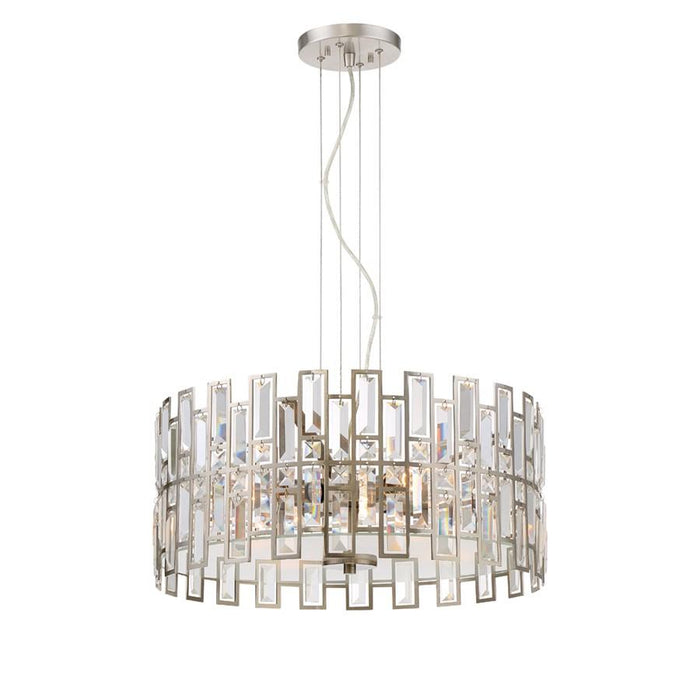 Designers Fountain West 65th 4 Light Inverted Pendant, Satin Platinum