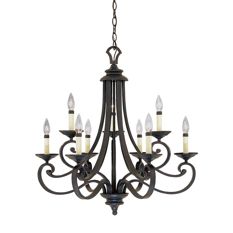 Designers Fountain Barcelona 9 Light Chandelier, Natural Iron