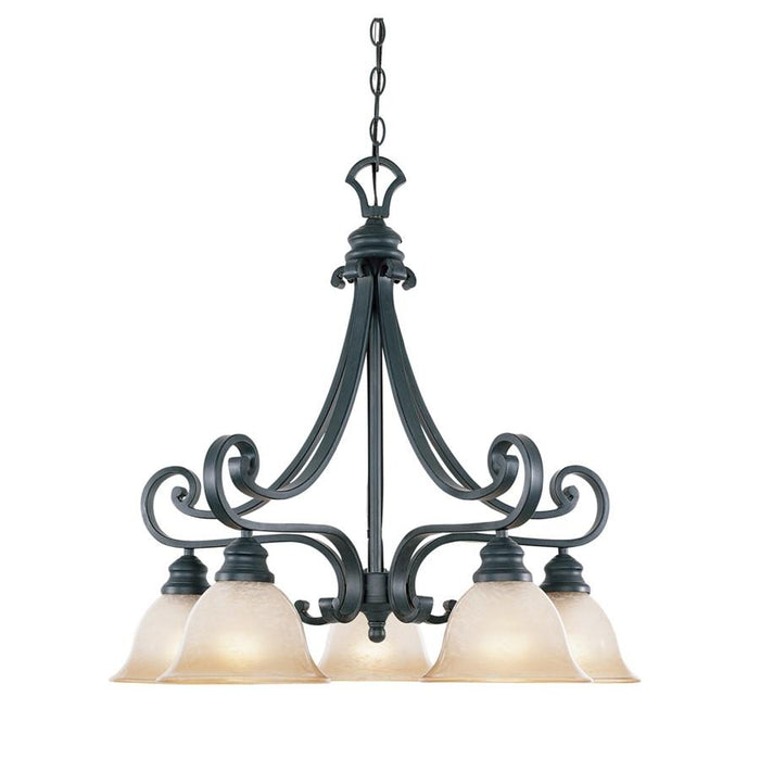 Designers Fountain Barcelona 5 Light Down Chandelier, Natural Iron