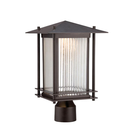 "Designers Fountain Hadley 9"" LED Post Lantern, Burnished Bronze"